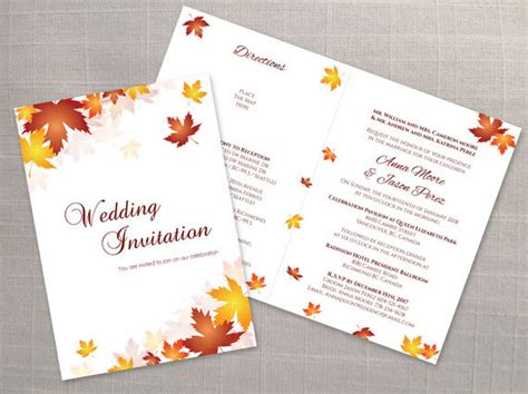 2 fold invitation card template diy printable wedding folded invitation card template