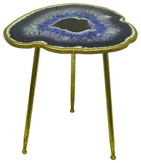 geode coffee table agate geode accent table blue 24 quot eclectic