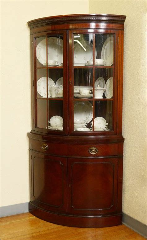 pair drexel travis court mahogany corner cabinets corner