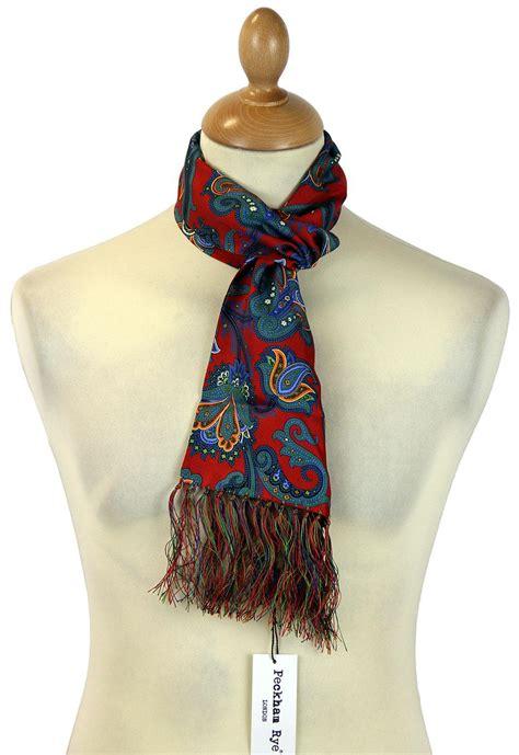 peckham rye lotus paisley retro 60s mod silk scarf
