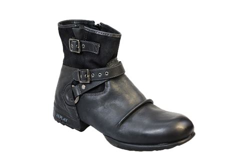 replay mens boots replay carbon mens black leather ankle boots shoes size 10