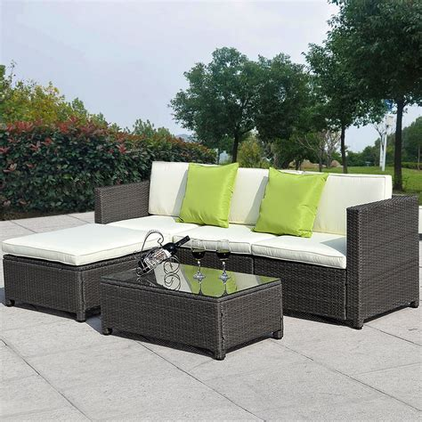 5pc Outdoor Patio Sofa Set Sectional Furniture Pe Wicker Wicker Sectional Patio Furniture