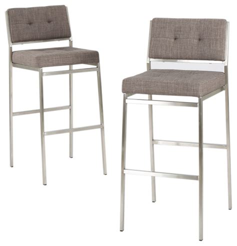 Kyoto Fabric Bar Stools Set Of 2 Light Gray