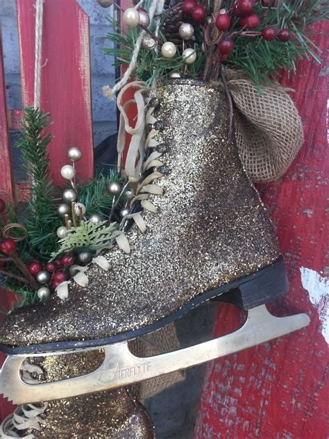 glittered ice skates as christmas and winter decor the
