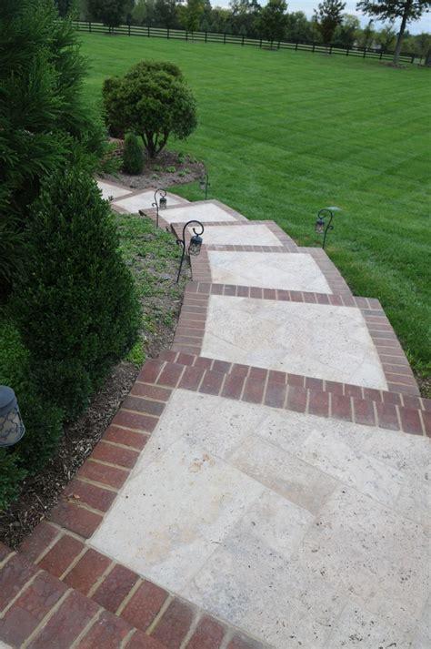 brick inlay sidewalk idea  front service walk  steps