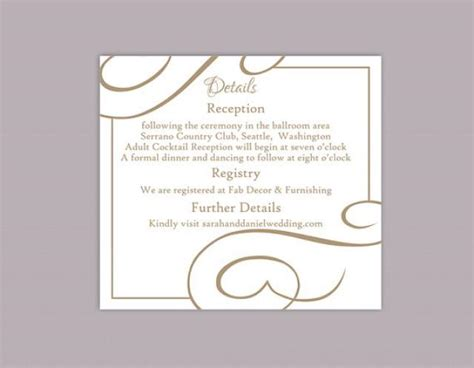 diy wedding direction cards template 2 to a page diy wedding details card template editable text word file