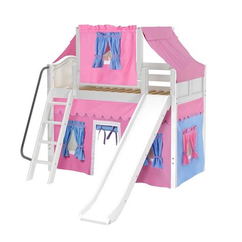 twin loft bed curtains maxtrixkids sweet28 wc mid loft panel bed with angle