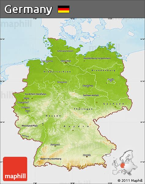 germany physical map free physical map of germany single color outside