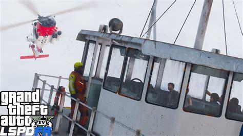 sinking boat gta 5 gta 5 lspdfr coastal callouts coast guard helicopter