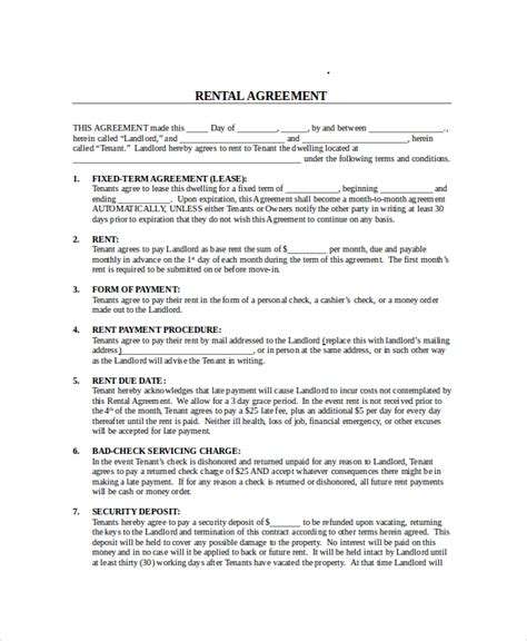 Month To Month Lease Agreement 7 Free Pdf Word Documents Download Free Premium Templates Month To Month Lease Agreement Template