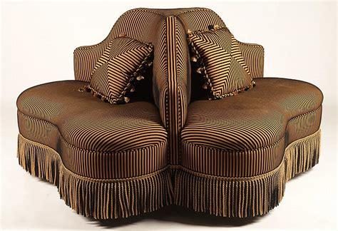 3 sided sofa upholstered borne three sided sofa with fringe