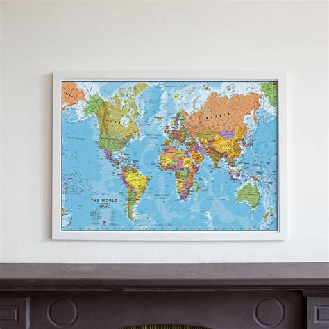 map picture frame framed map of the world by maps international