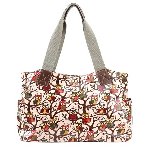 owl print designer oilcloth shoulder bag tote shopper day