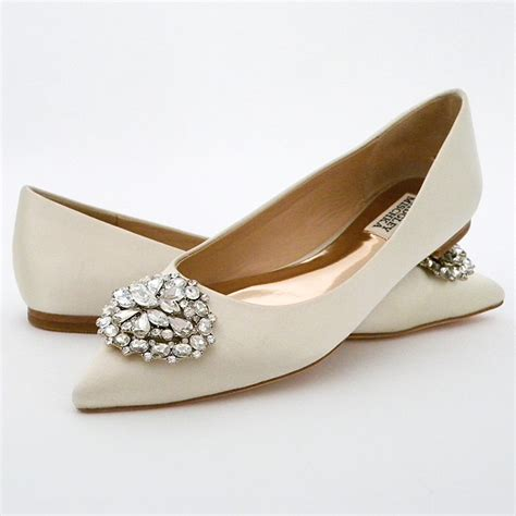 badgley mischka davis ivory flat wedding shoes