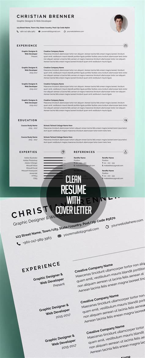 fresh simple clean resume templates and cover letter idevie