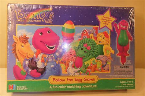 Book Barney Follow Me 1998 barney s great adventure follow the egg board mib