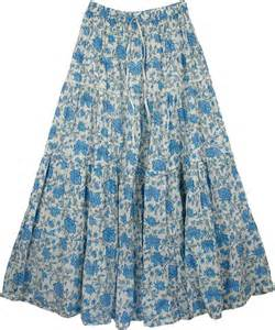 cotton skirt hydrangea blue cotton summer skirt clothing
