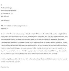 Complaint Letter Bully Manager Workplace Bullying Complaint Letter Sle Cover Letter Sle 2017