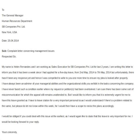 Employee Complaint Letter About Manager workplace bullying complaint letter sle cover letter