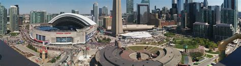 Blue Jays Jersey Giveaway - panorama of blue jays jersey giveaway line at 10 30am toronto