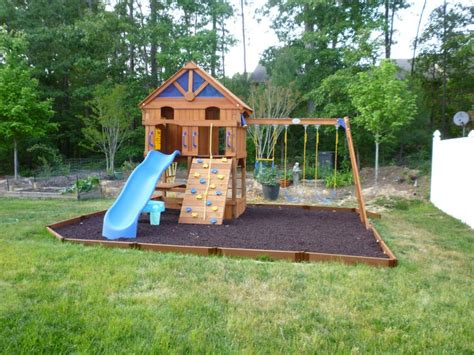 Small Backyard Playground Ideas Garden Ideas With Blue Slide And Small House Wood And Swings For Your Playground