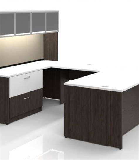desk hutch lighting custom executive desk with lateral file hutch and task