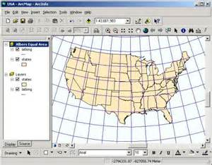 united states map with coordinates exercise 3 map projectioins in arcmap and arctoolbox