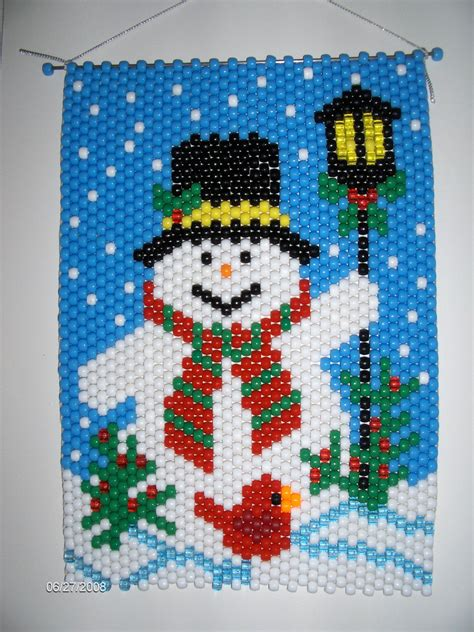 pony bead snowman snowman by a l post beaded banner