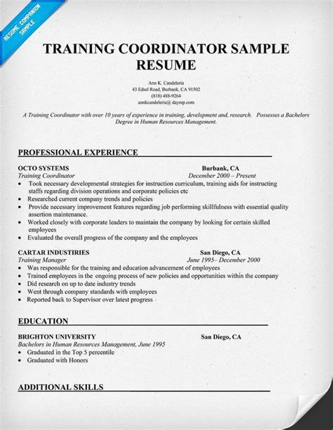 Trainer Resume Exles by Coordinator Sle Resume Interviews Cover Letter