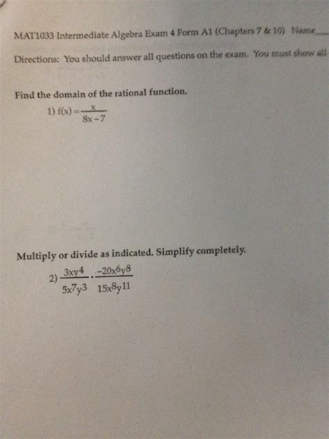 Questions About Experts You Must The Answers To 2 by Solved Mat1033 Intermediate Algebra 4 Form A1 Chapt Chegg