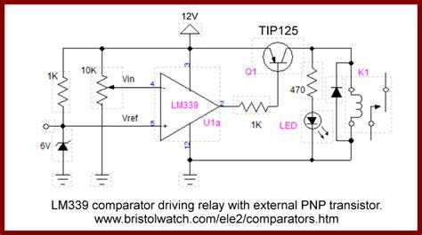 pnp transistor relay driver comparator circuits exles tutorial