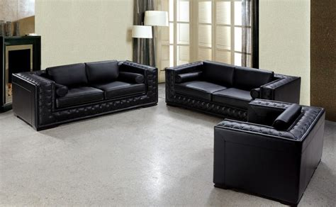 Dublin Luxurious Black Leather Sofa Set Leather Sofas Sets