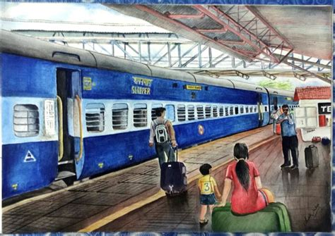 Color For Dining Room by Indian Railway Station Art Avisek Mitra Paintings