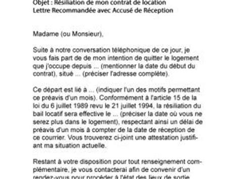 Lettre De Résiliation Mobile Pour Perte D Emploi Lettre Resiliation Bail Nouvel Emploi Document