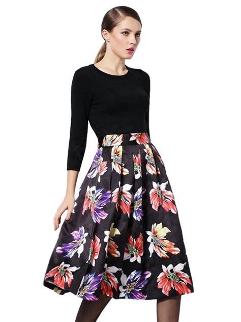 Cgd 2in1 Grey Dress 2016 2 in 1 dress with black knitted top and floral print pleated skirt designer 41 9800