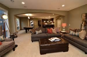 Cool Finished Basements Lower Level Entertainment Area