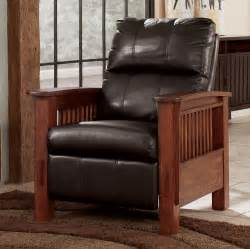 Mission Style Recliner Santa Fe Chocolate High Leg Recliner By Signature Design