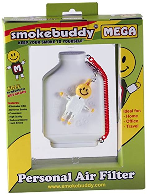 smoke buddy mega personal air purifier cleaner filter removes odor white bong