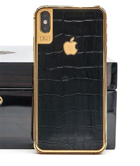 iphone xs max 256gb gold 24k with black aligator leather bijuterii aur