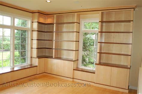contemporary maple and walnut bookcases artisan custom