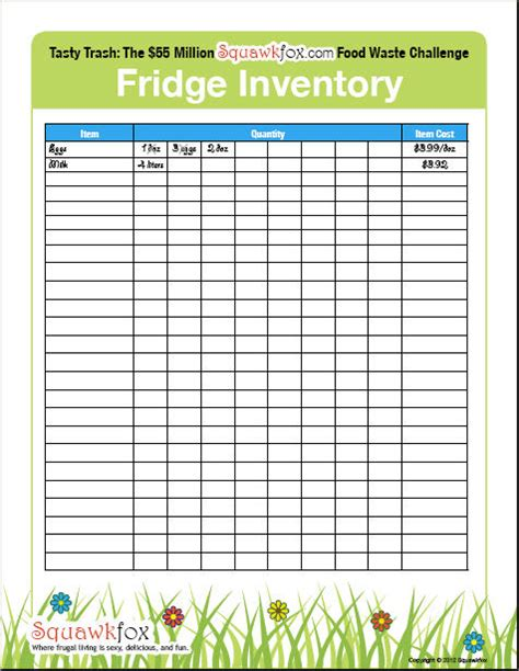 kitchen inventory list template 9 best images of refrigerator inventory printable list