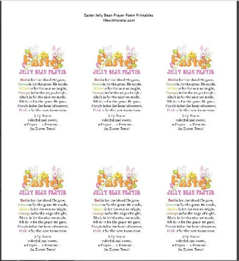 printable jelly bean name tags easter jelly bean prayer poem life with lorelai
