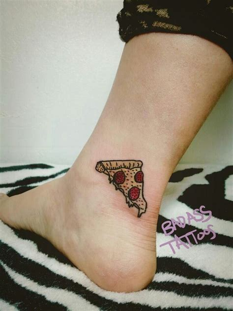little pizza piece tattoo on ankle
