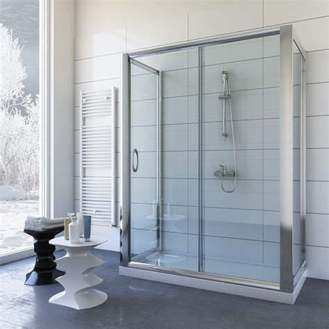 shower enclosure 3 sided 800x1000 mm h1850 clear glass mod