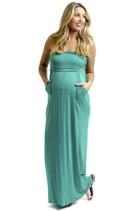 emerald green strapless maternity maxi dress