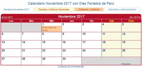 Calendario Octubre Noviembre 2017 Calendario Noviembre 2017 Para Imprimir Per 250