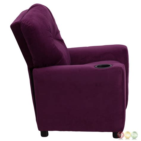 purple kids recliner contemporary purple microfiber kids recliner with cup