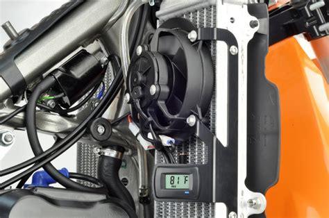 dirt bike radiator fan kit dirt bike digital radiator fan kit monitors your ktm s
