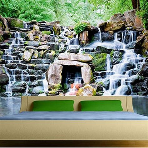 Waterfall Wall Mural waterfall wood wallpaper mural waterfall feature wall decor
