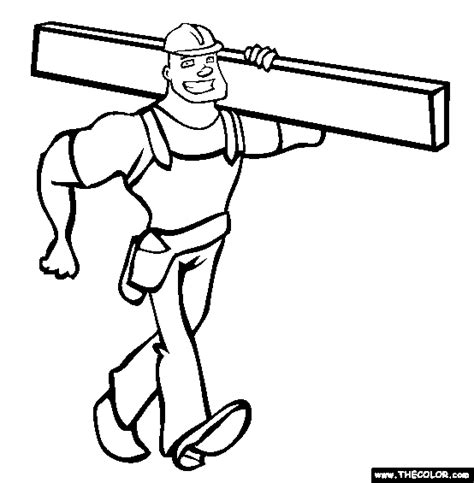 coloring pages construction worker online coloring page